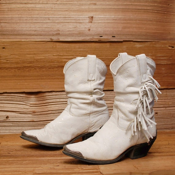 size 8.5 FRINGE white leather 80s SOUTHWEST slouchy metal ankle boots
