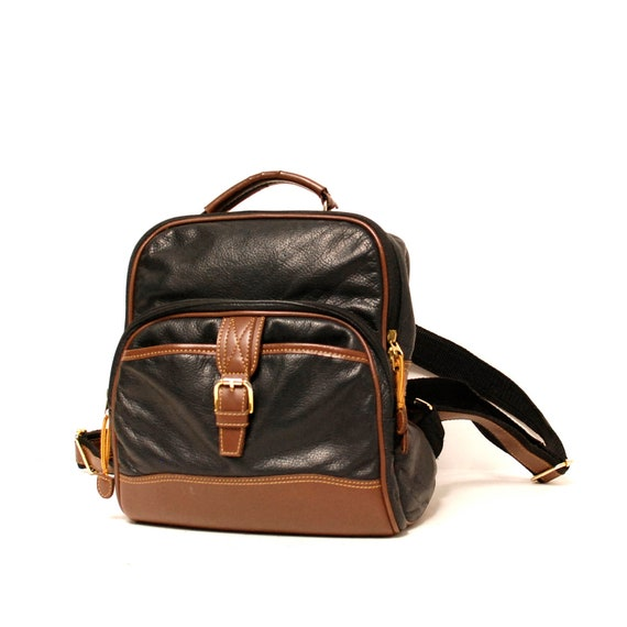 BLACK LEATHER 80s BACKPACK small unisex