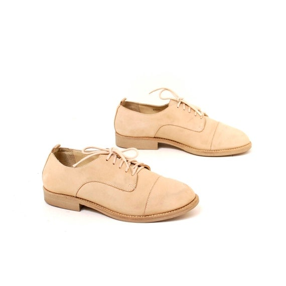 size 6 NUBUCK tan leather 80s 90s OXFORD lace up shoes