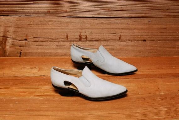 size 7 SOUTHWEST light blue leather 80s CUTOUT couture ankle boots