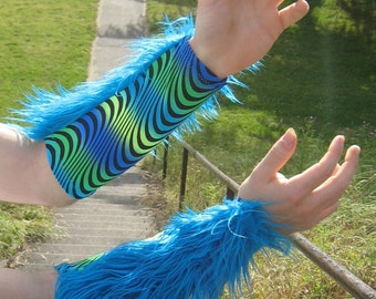Psychedellic Aqua Blue Faux FUR and eye popping black light-reactive, Spandex ARM WARMERS for men
