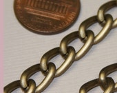 Best deal ever  10 ft of Aluminum Curb chain  7X10mm - Antiqued Gold