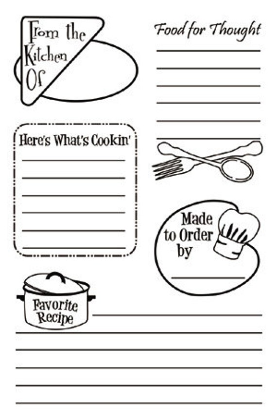 Clear Acrylic Stamps Recipe Journaling Stamp Set by Cookbookin   - kitsnbitscraps