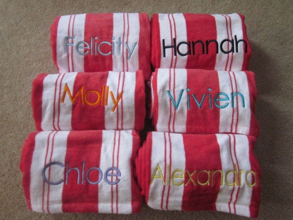 Custom listing for BETH Personalized Beach/ Pool Towel Red stripes