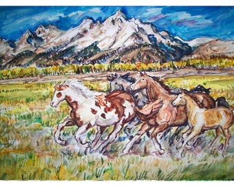 MOUNTAIN VALLEY HORSEs - 11x15 original painting landscape watercolor OOAK, Wild Horse, Horses, Western, Mountain, Valley
