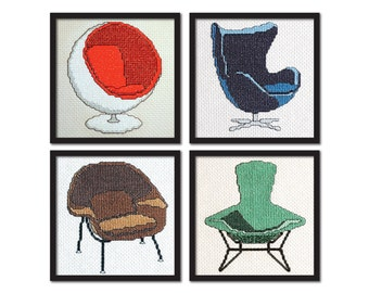 Mid Century Modern Chairs Cross Stitch Pattern Instant Download