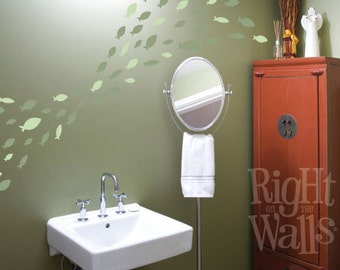 School of Fish 40pc Vinyl Wall Decal Removable Bathroom Wall Decor