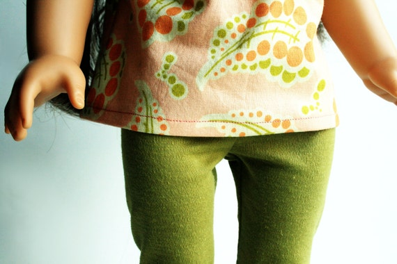 American Girl Doll Clothes - Peach Paisley Peasant Top and Olive Green Leggings