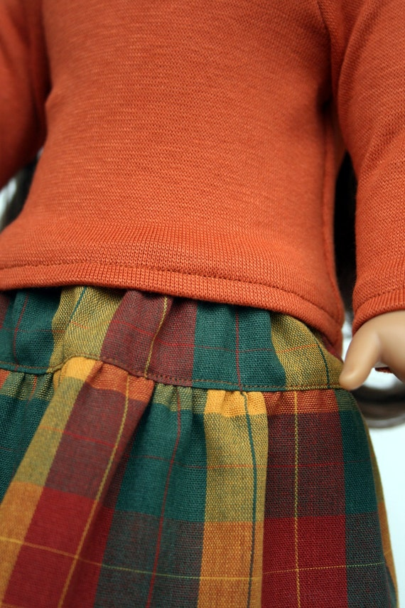 American Girl Doll Clothes - Repurposed Burnt Orange Tee and Fall Plaid Skirt - Made To Order