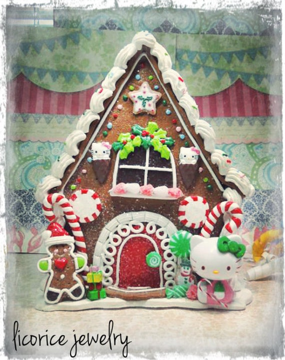 Hello Kitty GINGERBREAD Cookie Candy Sweets HOUSE pink peppermint cottage christmas holiday lollipop sugar faux fake food sprinkles