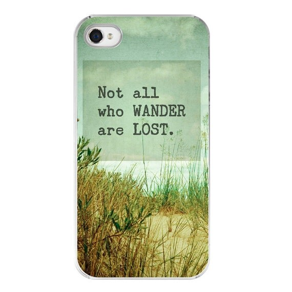 hipster iphone 4s case with quote . mint green case . aqua iphone 4 cover . Not All Who Wander Are Lost . beach . sea shore . FREE SHIPPING