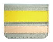Yellow Peach Lt. Grey Stripes Vinyl / Cotton Wallet