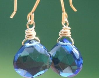 Blue Quartz Earrings, Small Drop Earrings, Gold Earrings, Petite, AAA Blue Quartz, Gold Wire Wrapped Earrings by Maggie McMane Designs