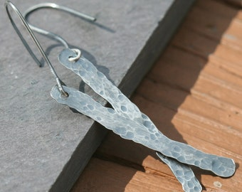 Sterling Silver Stick Earrings,  Sterling Silver Hammered Earrings, Handmade Oxidized Earrings, Dangle Earrings by Maggie McMane Designs