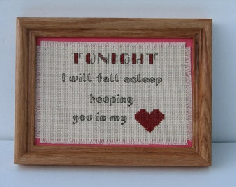 Tonight I Will Fall Asleep Keeping You in My Heart  Counted Cross Stitch