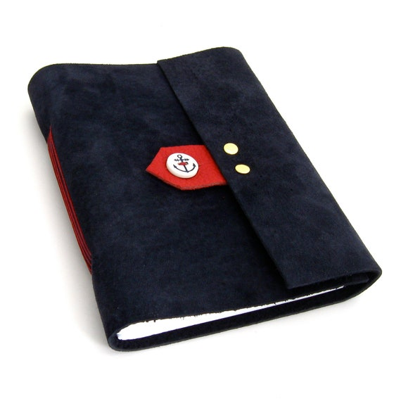 Nautical Leather Journal and Sketchbook in Navy Blue Suede and Red Leather