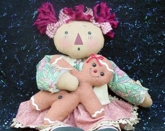 CF206 Gingerbread Hugs - PDF ePattern Cloth Doll Pattern Raggedy Gingerbread
