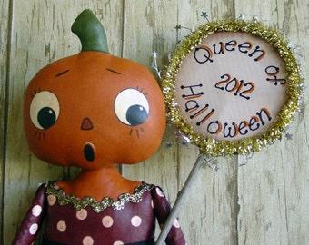 CF275 2012 Queen of Halloween - PDF ePattern Painted Cloth Pumpkin Head Doll Pattern