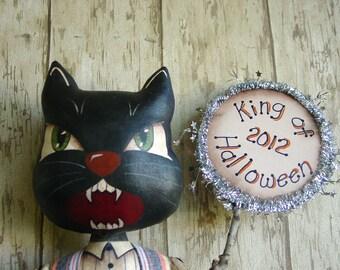 CF274 2012 King of Halloween - PDF ePattern Painted Cloth Black Cat Doll Pattern