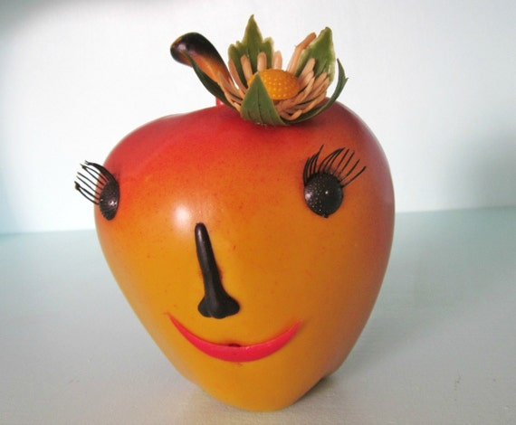 Kitschy Vintage Anthropomorphic Apple Bank