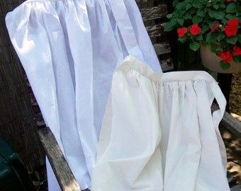 Please read full ad details/ Girls Pioneer Apron/ white or ivory(made to order only)