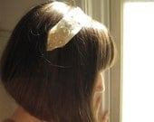 Wedding headpiece - ivory silk headband with gold starburst lace - Made To Order