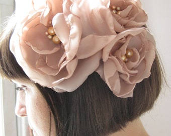 Wedding headpiece - convertible three bloom brooch and  fascinator   - Made To Order