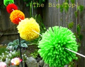 Yarn Pom Pom Garland - The Big Top - Yellow Green Orange and Red