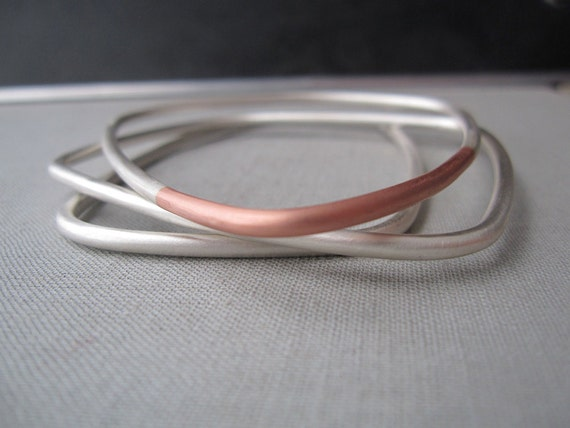Reserved for E.S.- Geometry Bangle Bracelet Set - Sterling Silver and Copper Stacking Bracelets