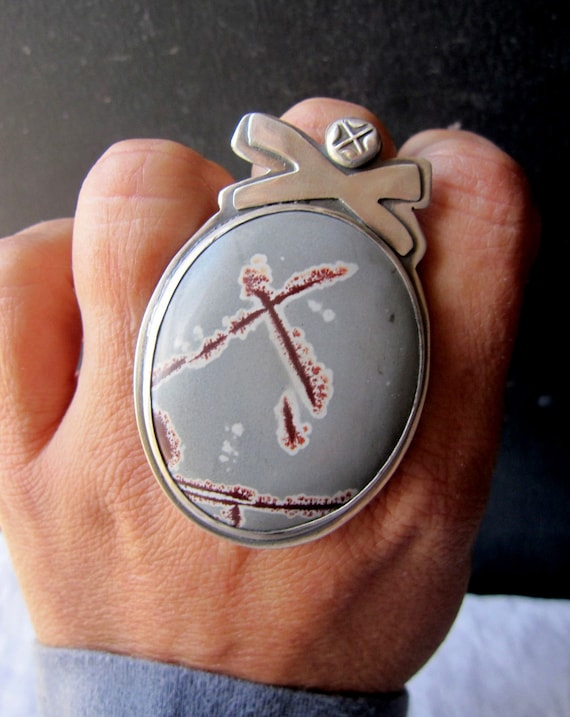 60 DOLLAR SALE - X Marks the Spot Ring - Sonoran Rhyolite Stone and Sterling Silver Ring