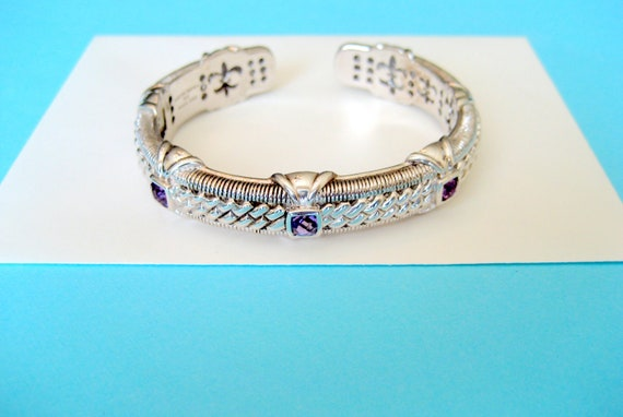 SALE....Sterling and Amethyst Hinged Cuff