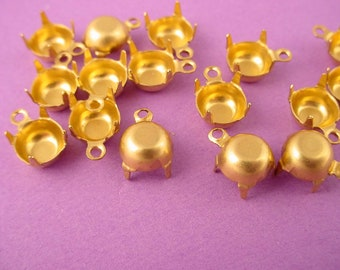24 Brass Round Prong Settings 35SS 7mm 1 Ring closed Back