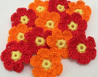 Crochet Red and Orange Flower Appliques
