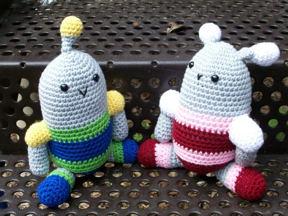 Robot Brother and Sister - Two Crocheted Plush Dolls - Handmade Amigurumi Toys - Buy Both Together and Save