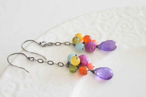 Long Whimsical Amethyst and Multi Stone Cluster Oxidized Sterling Silver Earrings