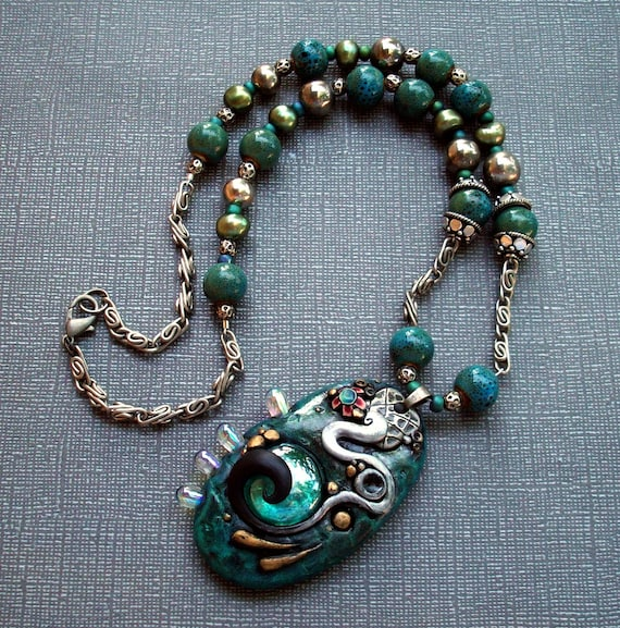Chunky Polymer Clay Pendant Beaded Necklace