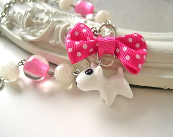 White dog Necklace kawaii lolita bull terrier
