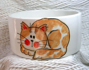 Medium Cat Bowl Handmade Orange & White Cat and Paw Prints Inside 20 Oz. Ceramic
