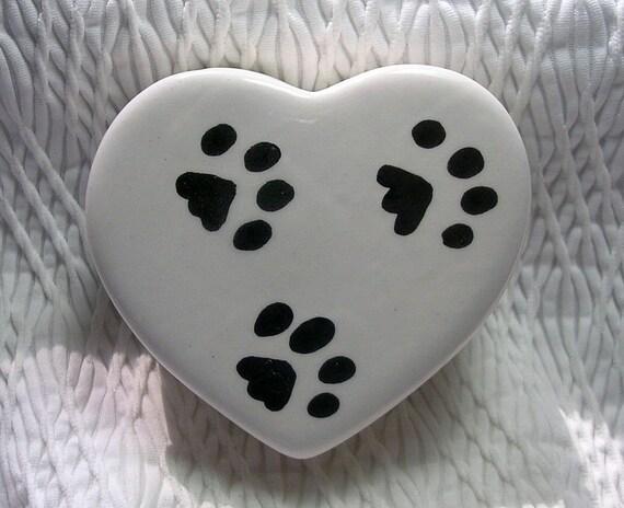 Paw Prints On  Heart Shaped Covered Ceramic Box Kiln Fired Handmade