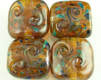 Jeweled Amber Handmade Lampwork Glass Beads Set with Silver Foil and Frit
