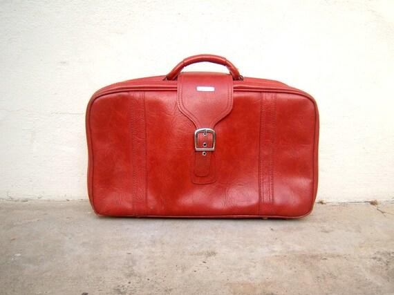 Vintage indie rocker suitcase / burnt orange / Samsonite / soft luggage
