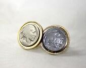 Vintage Swank  Cuff Links Indian Head Nickels in Gold Tone Bezel