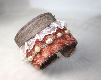 Lace Leather and Pearls Textile Fabric Wrist Cuff Bracelet Salmon Rose