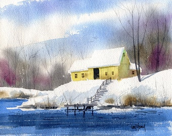 River Bend-Print from an original watercolor painting