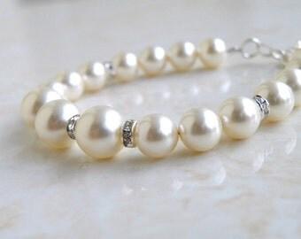 Bridal Pearl Bracelet Ivory Swarovski  Sterling Silver CNB4