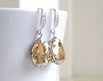 Swarovski Earrings Champagne Golden Shadow Foiled Pear Stone Sterling