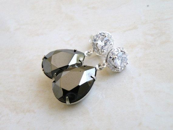 Grey Black Earrings Hematite Teardrop Stone Silver Stud