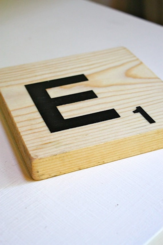 Large letter E oversized scrabble tile
