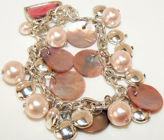 Pink Bracelet, Shell Bracelet, Pink Charm Bracelet, Pink Shells, Pink Pearl Dangles, Free Shipping Sale, Gifts For Her