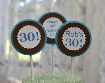 Cupcake Toppers, Set of 12, Happy 30th Birthday, 30th